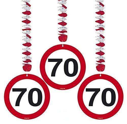 70. Geburtstag Deko Rotorspiralen mit Zahl 70 3er Set Hängende Dekoration zum 70er Geburtstag Party oder andere Anlässe