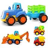 LIVEHITOP Spielzeugauto Baufahrzeuge Set of 4, Traktor, Bulldozer, Mixer LKW Truck und Kipper, Push und Go Reibung Powered Auto Spielzeug Geschenk für Kindertag Kinder ab 18 Monate (Zufällige Farbe)
