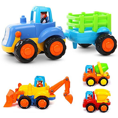 LIVEHITOP Juguete Coche 4 Piezas Construccion Vehículos Push and Go Tractor, Bulldozer, Camión Mezclador y Descargador, Juguetes Educativos para Niños 2 Años (Color Aleatorio)