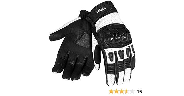 Jet Motorradhandschuhe Herren Sommer Leder Touchkompatible Fingerspitzen Handknöchelprotektor Belüftung Kobi Weiß Xxl Auto