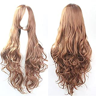 Womens Ladies Girls 80cm Brighter Orange/Ginger Color Long Curly Wigs High Quality Hair Carve Cosplay Costume Anime Party Bangs Full Sexy Wigs
