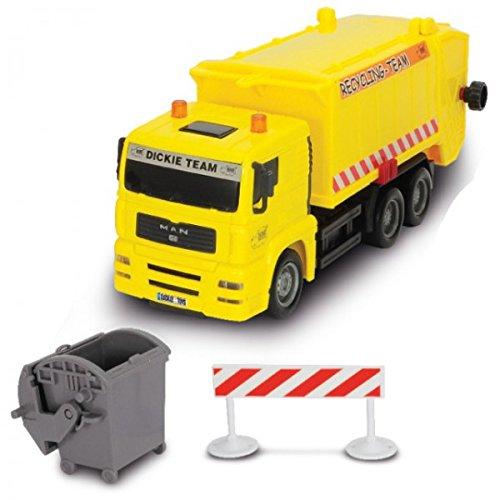 SET Müllfahrzeuge Freilauf beweglich 15cm 3-fach sortiert, Farbe:Gelb (Dickie-spielzeug-müll-lkw)