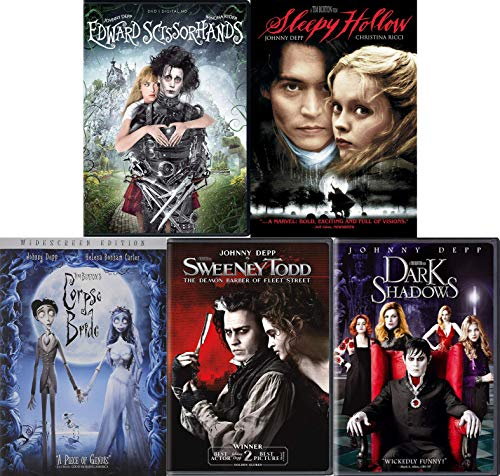 Tim Burton and Johnny Depp: Dark and Gloomy 5 Movie DVD Collection (Edward Scissorhands / Corpse Bride / Sweeney Todd and More)