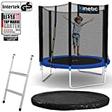 Kinetic Sports Outdoor Gartentrampolin Set inkl. Sprungtuch aus USA PP-Mesh +Sicherheitsnetz +Rand- u. Regen-Abdeckung +Leiter, bis 150kg Intertek GS-geprüft, UV-beständig Ø 250 305 370 400 430 460cm