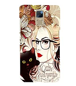 printtech Fantasy Girl Back Case Cover for Huawei Honor 7