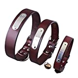 Jinbom Personalisierte Hundehalsband - Custom Leder Halsbänder mit Pet Name & Telefonnummer & Bell - 6 einstellbare Größen: XXS, XS, S, M, L & XL