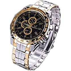 Zeagoo® Mens Fashion Stainless Steel Luxury Sport Analog Quartz Wrist Watch