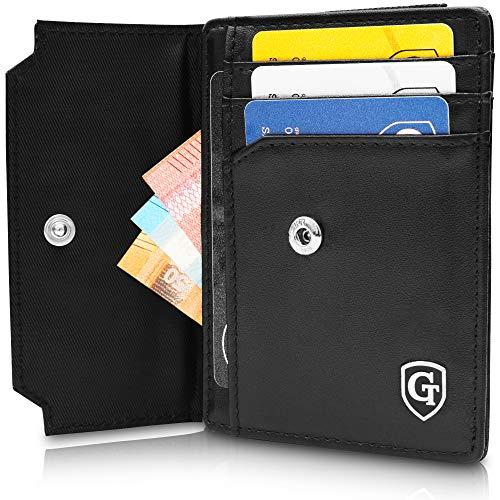 ton mit Münzfach - TÜV geprüfter RFID- & NFC Schutz - Geschenk für Damen und Herren - Inklusive Geschenkbox - erhältlich in 2 Farben | Design Germany (Schwarz - Glatt) ()