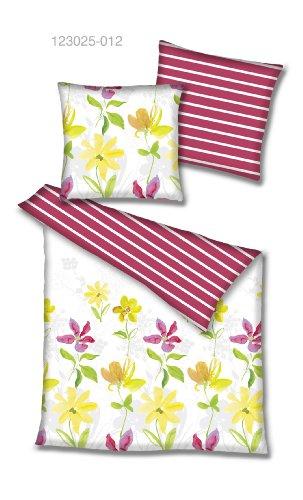 BETZ - Parure de lit réversible Neues Wohnen 100% Coton, Multicolor/Rouge-Blanc, 155 x 220 cm