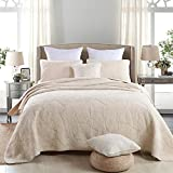 Unimall King Size Cotton Quilted Bedspread Patchwork Throw Blanket 3 Pieces Floral Embroidered Set, Beige Grey Pink