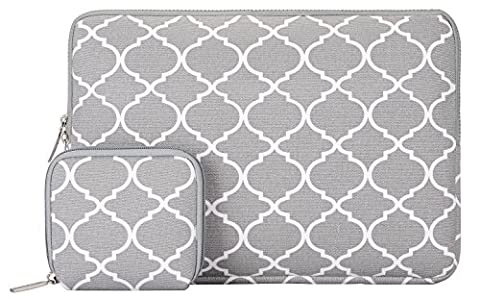 MOSISO Quatrefoil Style Canvas Fabric Laptop Sleeve Case Cover for 15-15.6 Inch MacBook Pro, Notebook Computer with a Small Case,