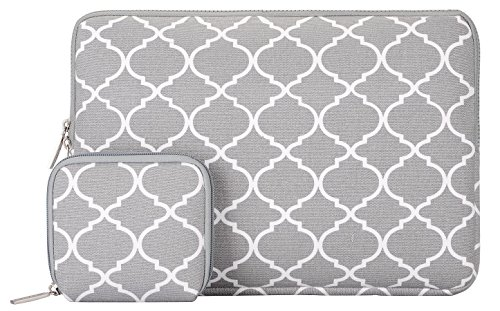 MOSISO Tasche Sleeve Hülle für 13-13,3 Zoll MacBook Pro, MacBook Air, Notebook Quatrefoil Stil Canvas Gewebe Laptophülle Schutzhülle Laptoptasche Notebooktasche mit Kleinen Fall, Grau (Stil-laptop-hülse)