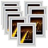 PETAFLOP Cornice Foto 13x18cm con Passepartout Cornici 15x20 Senza Passepartout Set di 8, Bianco