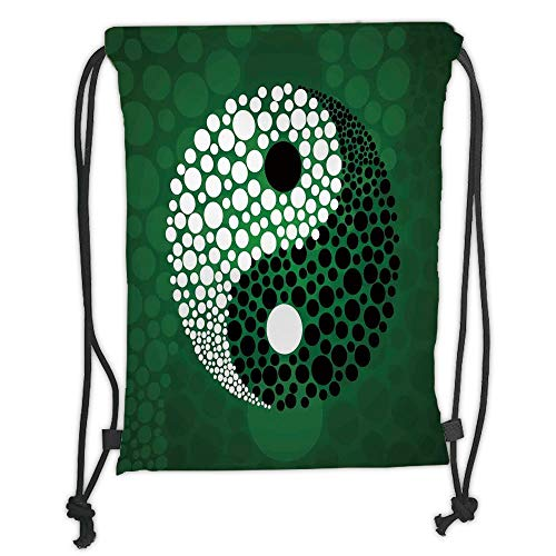 GONIESA Drawstring Sack Backpacks Bags,Ying Yang,Digital Made Yin Yang Form Nature Zen Themed Meditation Decor Dots Design,Green Black White Soft Satin,5 Liter Capacity,Adjustable String Closur