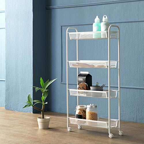 Unbekannt FEI Rack 3/4 Tier-Gebrauchs-Wagen, Küchen-Lagerung mit rollenden Rädern, Metallmaschen-Draht-Korb-Laufkatze für Küchen-Badezimmer (Farbe : Weiß, größe : 4Tier) -