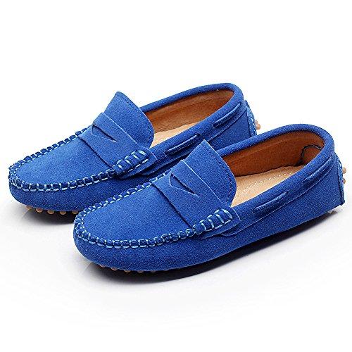 Shenn Filles Garçons Mignonne Confort Glisser Sur Suède Cuir Mocassins Flâneurs Chaussures bleu roi