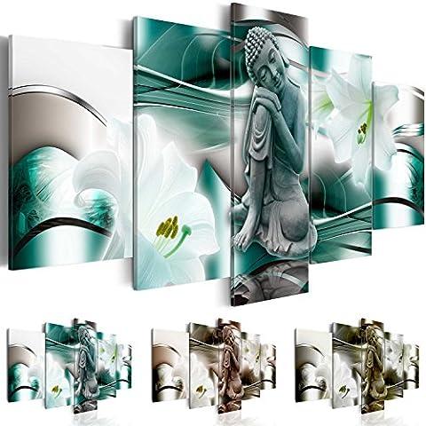 Quadro 200x100 cm ! Tre colori da scegliere - 5 Parti - Grande formato - Quadro su tela fliselina - Stampa in qualita fotografica -- Buddha Fiore Giglio h-A-0028-b-n 200x100 cm B&D XXL