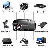Mini proyector, Yaufey 1800 Lumens LED proyector con Cable HDMI Gratuito,1080P Proyector Full HD de Vídeo Portatil ayuda para el Teatro Casero / la Hospitalidad del Partido/ Experiencia de cine / Entretenimiento en el Hogar, Negro