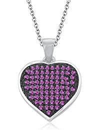 """Silvernshine 1.20 Ct Pave Set Pink Sapphire Heart Pendant With 18"""" Chain 14K White Gold Fn"""