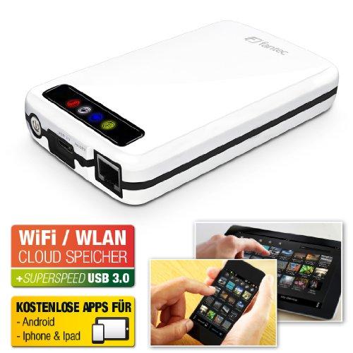 FANTEC MWiD25 Mobile WLAN Festplatte (extern, 750GB, 6,35cm (2,5 Zoll), WLAN, USB3.0, LAN, Akku integriert) weiß