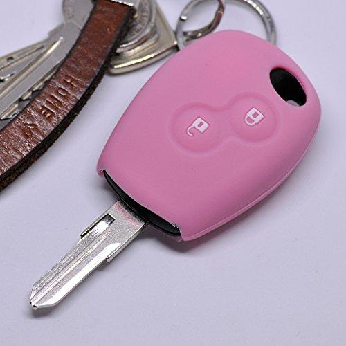 Soft Case Schutz Hülle Auto Schlüssel Dacia DOKKER SANDERO Duster LODGY Logan Renault CLIO TWINGO 2 Tasten/Farbe Pink