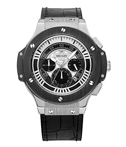megir hommes de sport militaire de Chronographe de couleurs de cuir montre bracelet à quartz