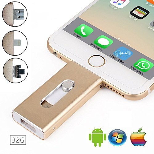 32 GB USB iPhone Flash Drive – USB, MICR USB und Lightning-Anschluss (3 in 1) für iPhone iPad iOS Android und pc-silver gold gold 32 gb