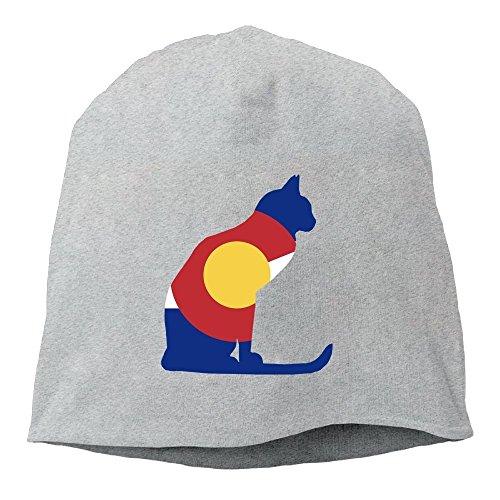 Colorado Flag Cat Unisex,Women/Men Wool Hat Soft Stretch Beanies Skull Cap Christmas,Halloween Gift Black