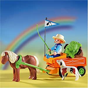 Playmobil - 3118 months - La Vie à la ferme - Enfant / Charrette / Poney
