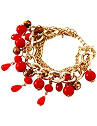 IGP Bold Gold Tone Red Stone Studded Charm Bracelet For Women And Girls