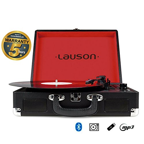 Lauson Briefcase Bluetooth Turntable with Built-In Stereo Speakers, USB conversion, MP3 Vinyl player, portable (Black)