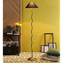 Black Cotton Antique Gold Zig Zag Floor Lamp /Standing Lamp By New Era For Living Room /Drawing Room/Office/Bedroom/Decoration /Corner/Gift/Lobby