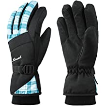 KINEED Guantes Esquí Invierno Impermeable Mujer Guantes Snowboard Ciclismo Cálido Thinsulate Azul