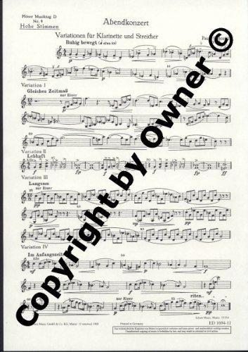 Plöner Musiktag: D Abendkonzert - Nr. 4: Variationen. Klarinette und Streicher. Streicherstimme hoch., Buch