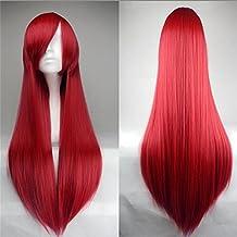 MMRM 100cm dulce niña cosplay recta larga peluca postizo inclinado Frisette color rojo oscuro