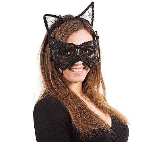 Bristol Novelty Katzenmaske mit Ohren auf Stirnreif, mehrfarbig, -