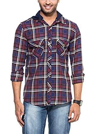 Zovi Cotton Regular Fit Casual Red Black And Blue Checkered Flannel Shirt Wit 1094730680139