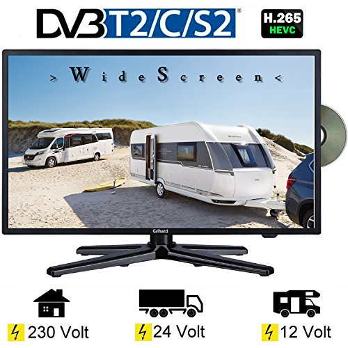 Gelhard GTV-2282 LED 22 Zoll Wide Screen TV DVD DVB/S/S2/T2/C 230/12 Volt 24 Volt für Wohnmobil Camping KFZ LKW Truck und Zuhause -