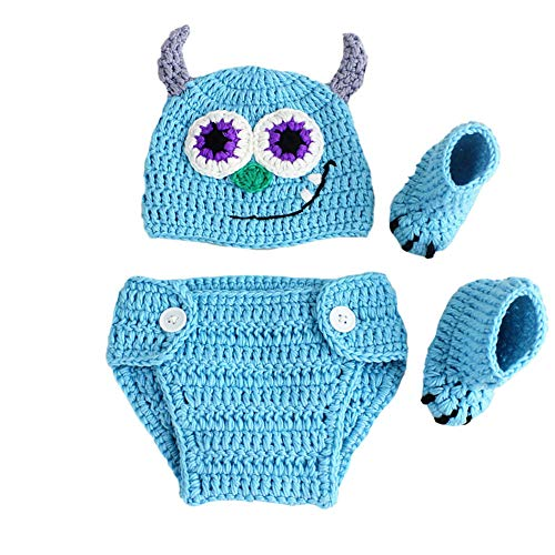 3 STÜCKE Infant Neugeborenes Baby Häkeln Kostüm Outfits Fotografie Requisiten Coole Monster Hut+Hose+Schuhe 0-3 Monate