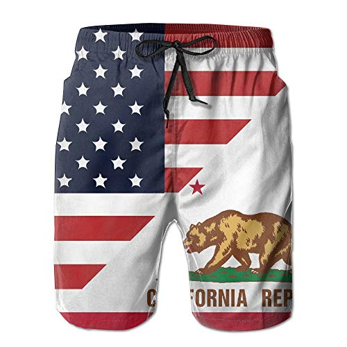 Zengyan Men's America California State Flag Quick Dry Swim Trunks Athletic Beach Board Shorts XXL -
