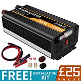 SUDOKEJI Power Inverter 1500 Watt Peak Power 3000 Watt 12V DC to 230V/240V AC Converter-2AC Outlets Car Inverter with One USB Port Two Cooling Fans...