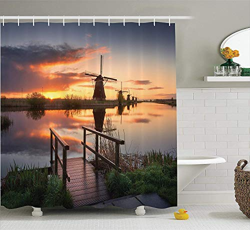 ewtretr Apartment Decor Shower Curtain Set, Landscape with Traditional Famous Dutch Windmills on Background Near The Canal Photo, 60W X 72L Inches Long, Orange Blue Beautiful
