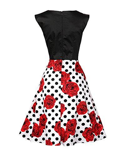 MISSMAO 1950s Dame Audrey Rockabilly Robe de Cocktail Rétro Tenue de Soirée Coton Noir & Blanc & Polka Dots Rouge Fleur