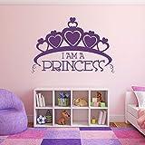 Aufkleber Wandaufkleber Große Krone Ich bin eine Prinzessin Text Home Mädchen Zimmer Herzform Prinzessin Krone