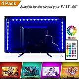 Led-Strip LED-TV-Hintergrundbeleuchtung, Auto Lichtleiste mit Fernbedienung, led TV Beleuchtung led Streifen 2m(4Stück 50cm)USB für 32 bis 60 Zoll HDTV, 60 LED USB-Stecker 5V RGB (Neue Version ) (4 * 0.5m)