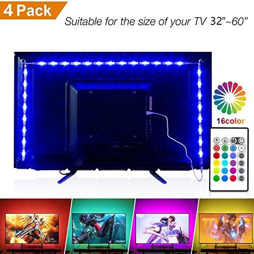 Retroilluminazione tv led, da 2m luci polarizzate rgb con 16 colori e 4 modalità dinamica per hdtv da 32-60 pollici, striscia luminosa led alimentata usb con telecomando rf, led strip light per tv e pc a schermo piatto,esterni (4 * 0.5m)