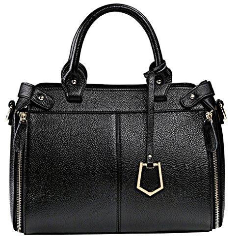 Xinmaoyuan Borse donna borsette in cuoio borse tracolla in pelle semplice mano a grande capacità borsa Messenger Nero