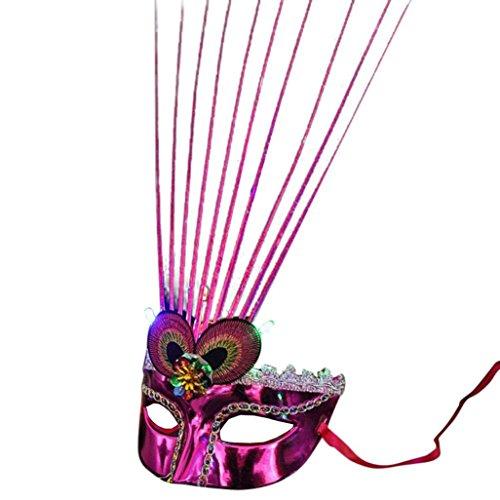 IGEMY Frauen-venetianische LED-Faser-Maskerade-Maske, fantastische Partei-Prinzessin Feather Masks (Zufällige ()