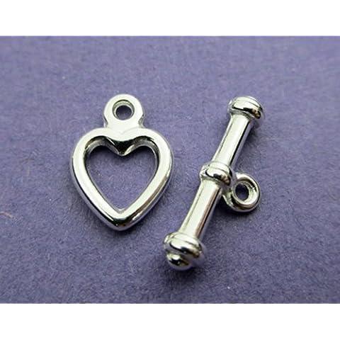New 7,5 mm e 8 mm, placcati in argento, a forma di cuore e chiusura a T in peltro, 5 pezzi