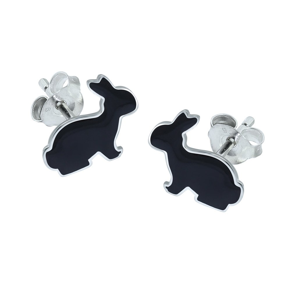 Black Rabbit Gift Earrings – Sterling Silver